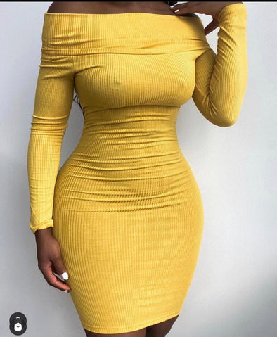 DEMI OFF-SHOULDER RIBBED | DRESS