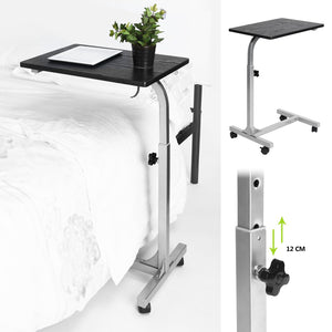 Mesa Port¨¢til Ordenador Mesa Port¨¢til Plegable con Ruedas Soporte Lateral para Alfombrilla y Rat¨®n Altura Angulo Inclinaci¨®n RegulablesLaptop Table GOMYHOME