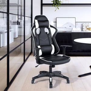 Juego Silla Racing Reposabrazos Pl¨¢stico PU Cuero Altura Ajustable Negrooffice chair GOMYHOME