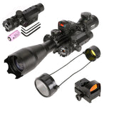Pinty Rifle Scope 4-16x50, Illuminated Optics, Green Laser, Red-Coating Reflex Mini Sight