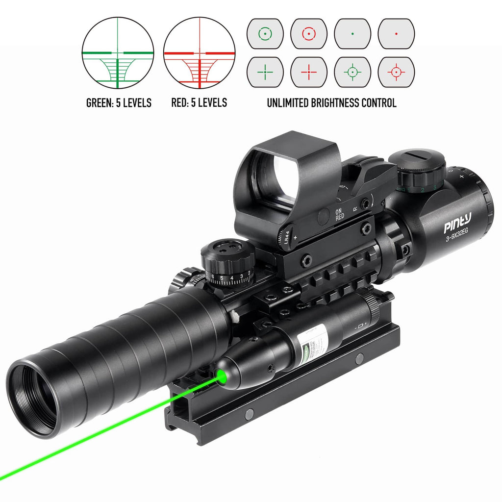 "Pinty Rifle Scope 3-9x32mmEG Rangefinder/Red & Green Dot Laser Sight/ with 14 Slots 1"" High Riser Mount"
