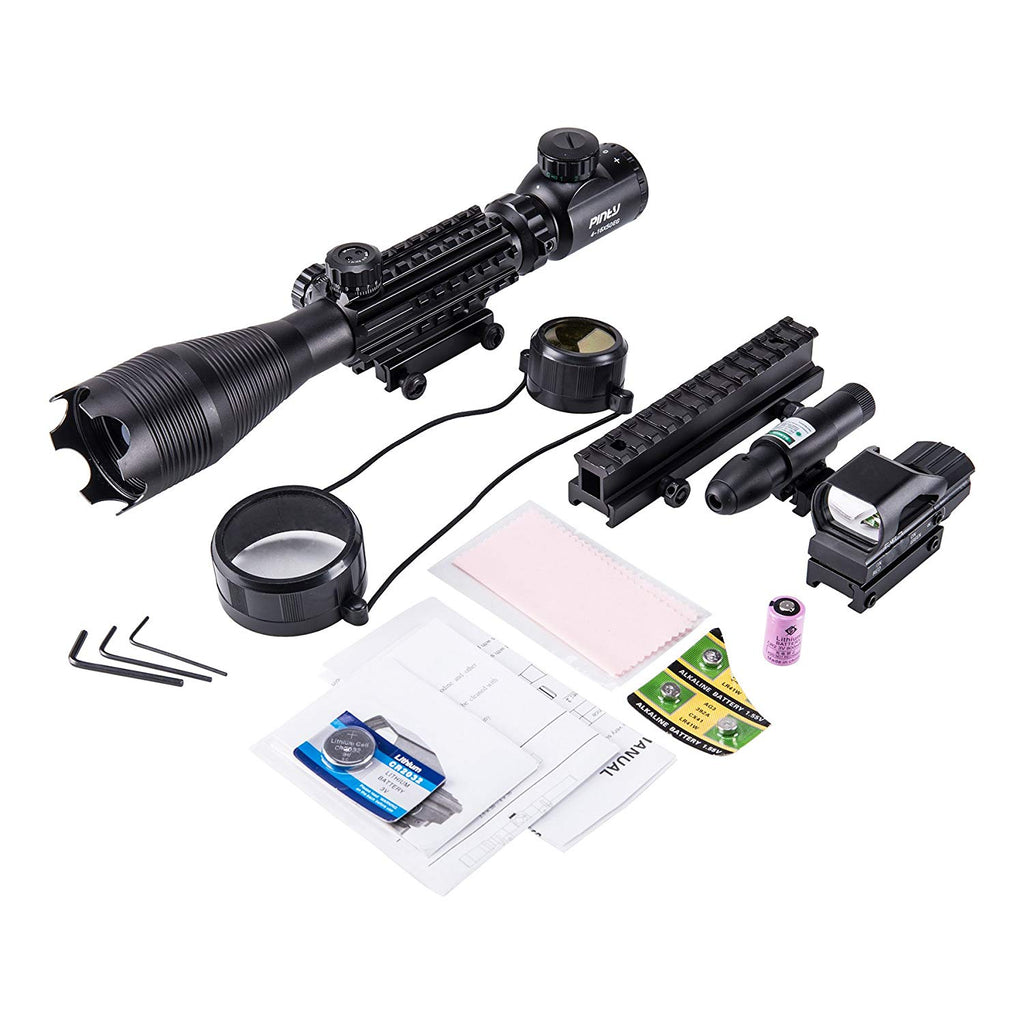 Pinty 4-in-1 Rifle Scope 4-16X50mm Optics/Green Laser/Holographic Dot Sight/14 Slot Riser