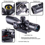 Pinty 2.5-10x40mm AOEG Red/Green Tactical Rifle Scope Laser Combo