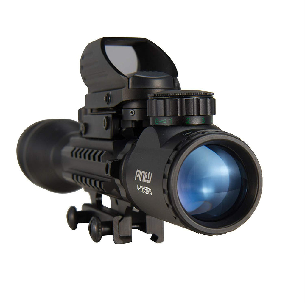 Pinty 3-in-1 Rifle Scope 4-12x50mmEG Rangefinder/Tactical Reticle Scope/Laser Sight & Red Dot Sight