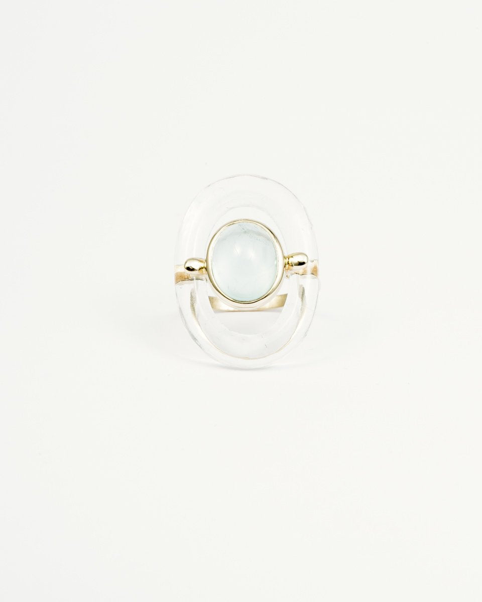CRYSTAL DONUT AQUAMARINE RING
