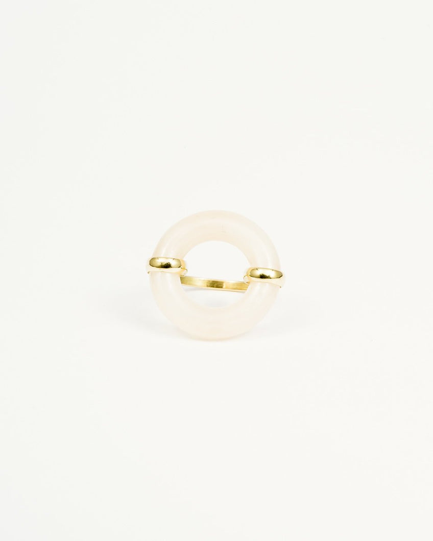 DONUT PEACH MOONSTONE RING