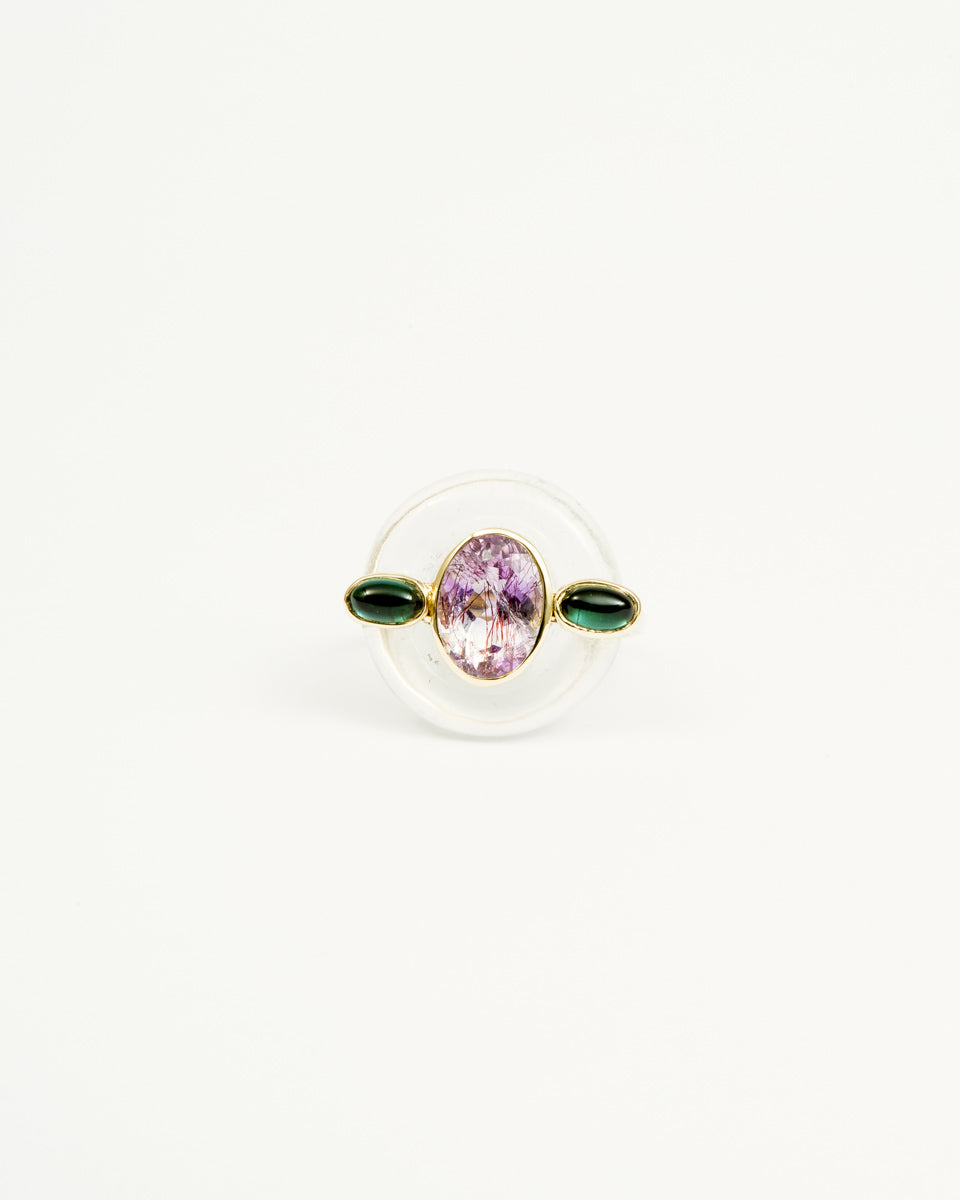 Donut Crystal Super Seven Facetted Tourmaline Cabochon Ring