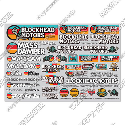 LIMITED - Mass Damper x Blockhead Motors Collab. RC Decal Sheet