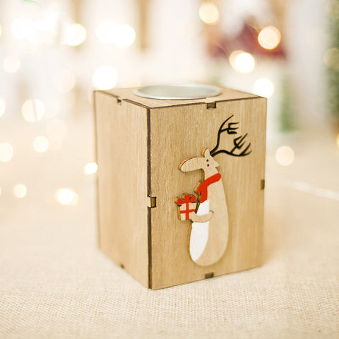 Mini Wooden Candlestick Candle Light Ornament For Home Christmas Decoration - Ecosmart Product