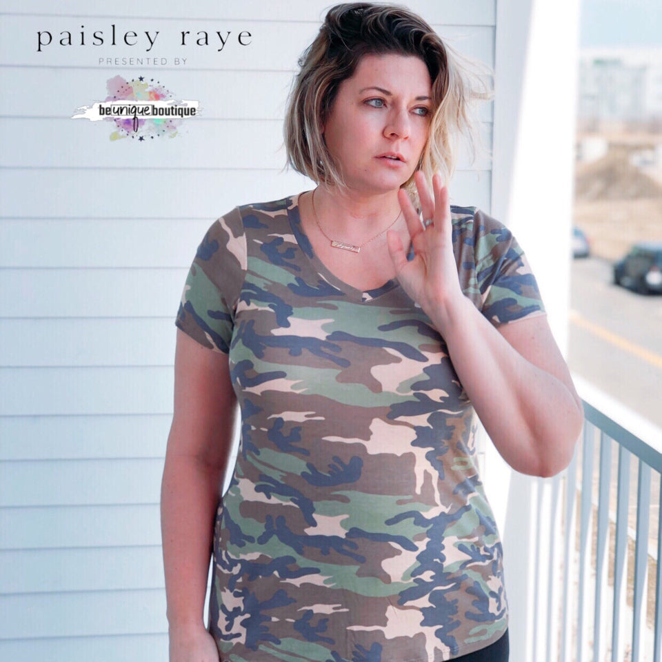 Paisley Raye Fitted V Neck Tee