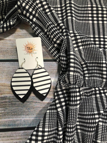 Tilu Designs Black and White Stripe Earrings - Be Unique Boutique