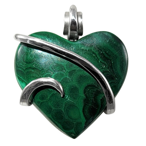 Malachite Crystal Stone Heart Pendant Hand Wrapped in Silver