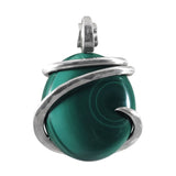 Malachite Crystal Stone Pendant Hand Wrapped in Silver