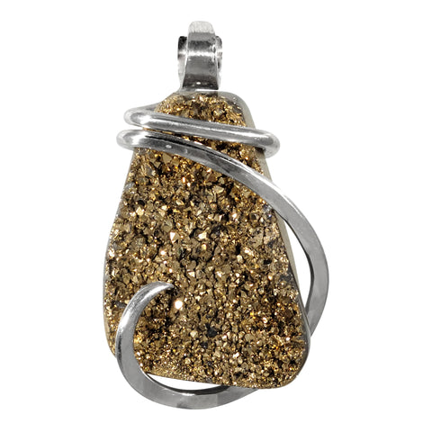 Agatized Drusy Crystal Quartz Pendant Hand Wrapped in Silver