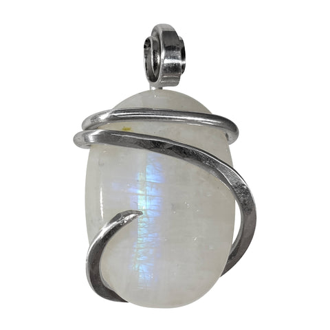 Rainbow Moonstone Crystal Stone Pendant Hand Wrapped in Silver