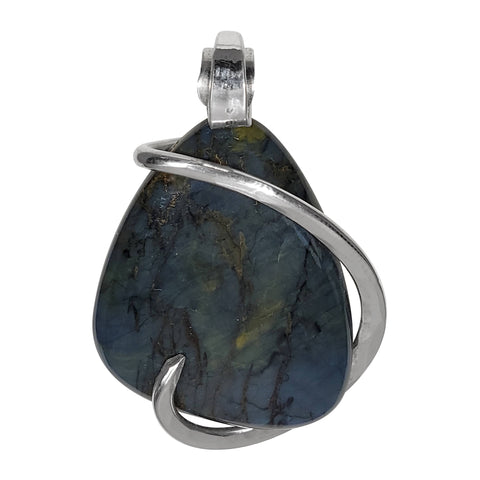 Nellite Crystal Quartz Stone Pendant  Hand Wrapped in Silver