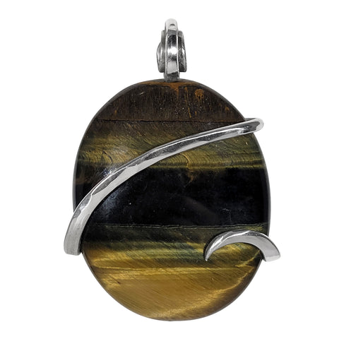 Tiger Eye Gold Crystal Stone Pendant Hand Wrapped  in Silver
