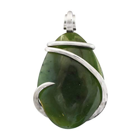 Jade Crystal Stone Pendant Hand Wrapped in Silver