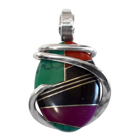 Malachite/Sugilite/Red Coral/Black Onyx Inlay with Gold Hand Wrapped Stone Pendant in Sterling Silver (Antique Bead)