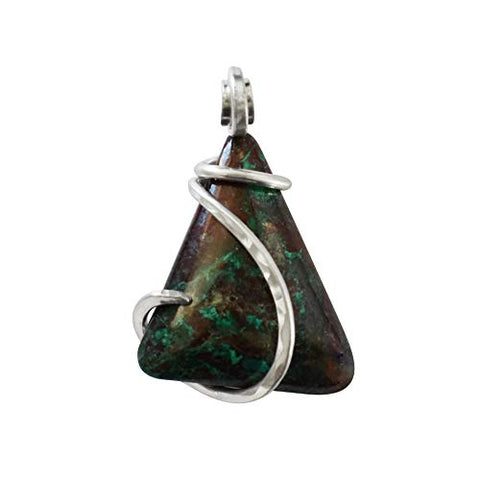 Chrysocolla Stone Pendant Hand Wrapped in Silver