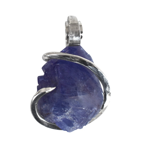 Tanzanite Crystal Stone Pendant Hand Wrapped in Silver