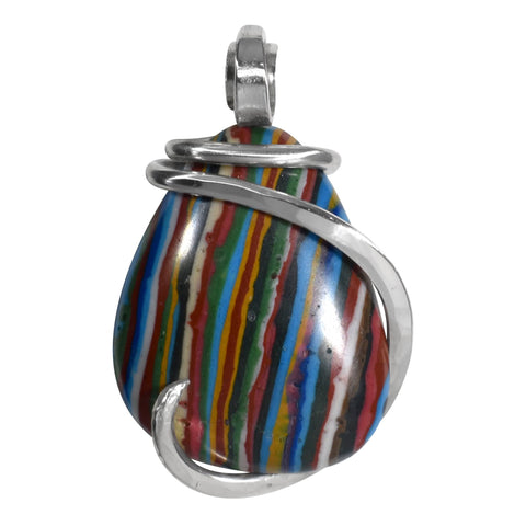 Fordite Pendant Hand Wrapped in Silver