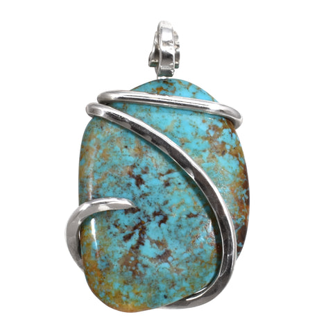 Turquoise Tyrone  Stone Pendant Hand Wrapped in Silver