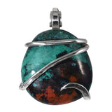 Chrysocolla Sonora Sunset Sunrise Stone Pendant Hand Wrapped in Silver