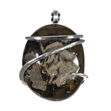 Pyritized Ammonite Pendant Hand Wrapped in Silver