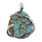 Turquoise Fox Stone Pendant Hand Wrapped in Silver
