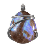 Fire Opal Crystal Stone Pendant Hand Wrapped in Silver