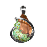 Splash Copper Pendant Hand Wrapped in Silver