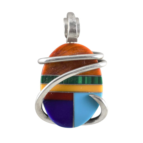 Multiple Stones Inlay Hand Wrapped Pendant in Sterling Silver