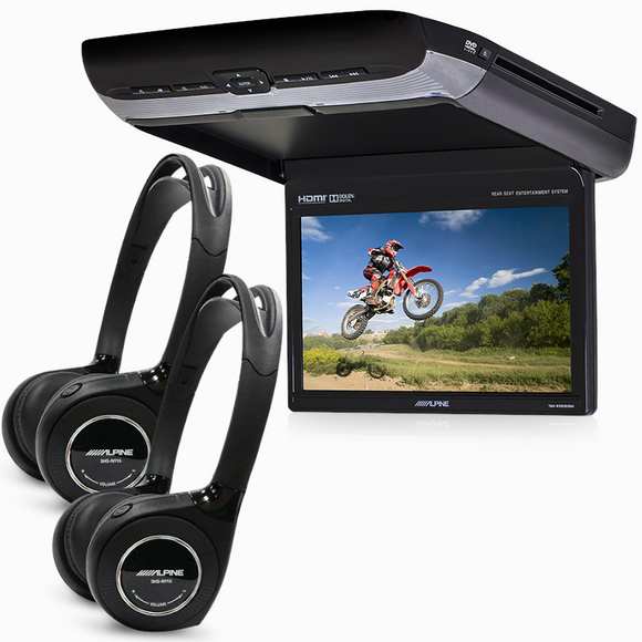"Alpine PKG-RSE3HDMI 10.1"" DVD/USB Overhead Monitor with Wireless Headphones"