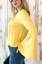 Load image into Gallery viewer, Yellow Buttercup Bell Sleeve Top