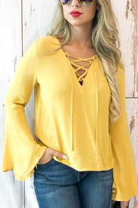 Yellow Buttercup Bell Sleeve Top