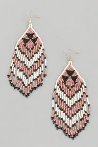 Coachella Tribal Bead Earrings - Pink/Black