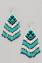Load image into Gallery viewer, Coachella Tribal Bead Earrings - Teal/Black