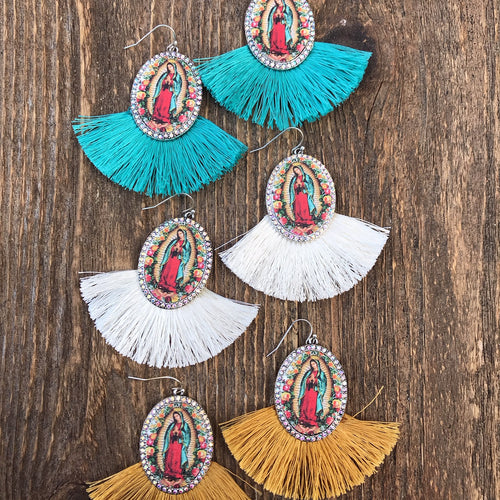 Virgin Mary Tassel Fan Earrings