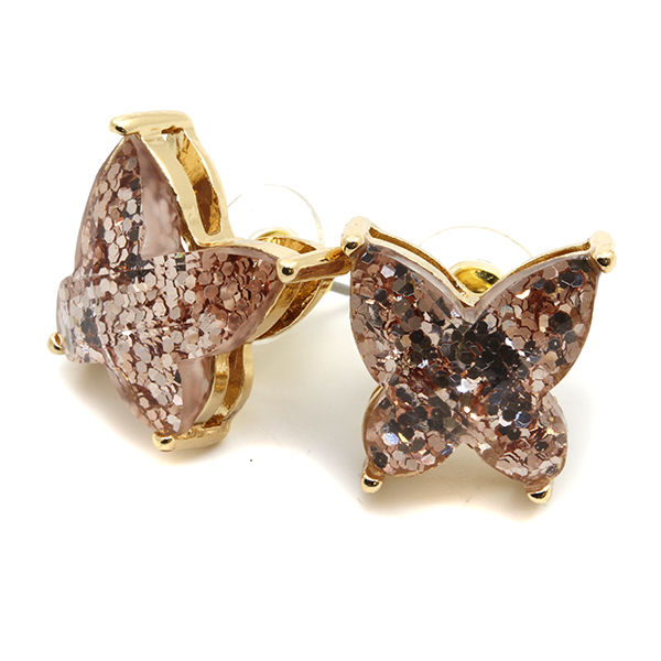 Rose Gold Glitter Butterfly Studs