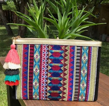Load image into Gallery viewer, Mixtec Aztec print BOHO Embroidery Clutch
