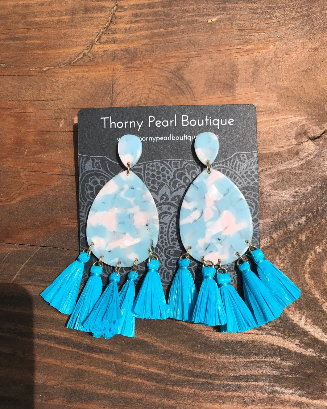 Aquaria Raffia Post Drop Tassel Earrings