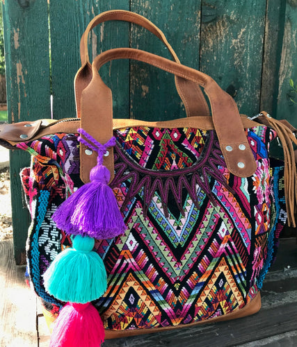 Luxury Marisol Mayan Huipil & Leather CDB Handbag