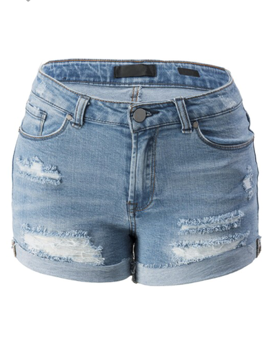 Marcella Distressed Rolled Up Vintage Denim Shorts