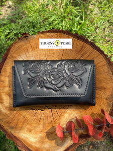 Florita Leather Crossbody/Clutch - Black