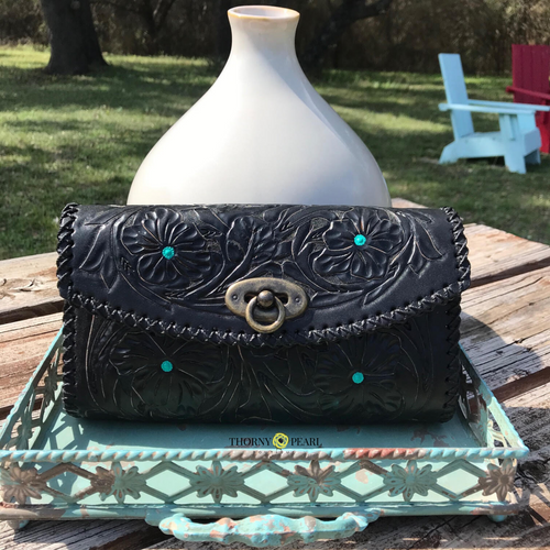 Salma Mexican Crossbody/Clutch (Black/Turquoise)