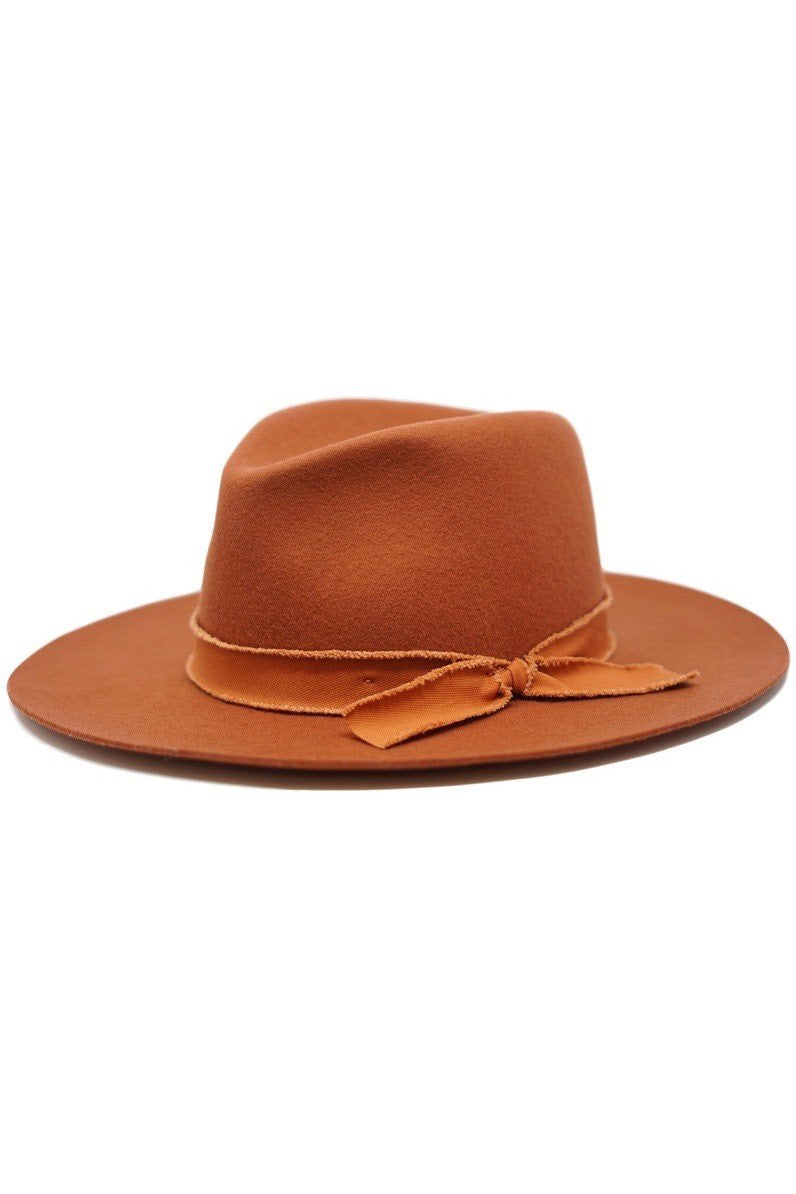 Sawyer Wool Felt Panama Hat in Rust