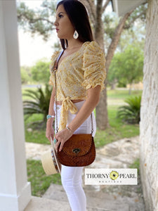 Penelope Leather Crossbody (Honey)