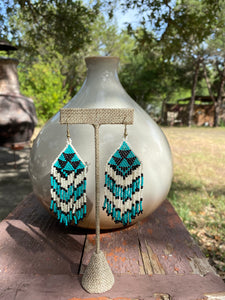 Coachella Tribal Bead Earrings - Teal/Black