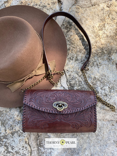 Yazmine Mexican Crossbody/Clutch (Merlot)